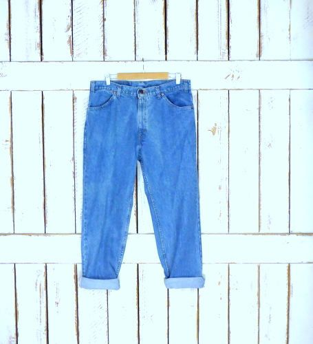 Levis 506 orange tab blue stone washed loose fit zipper fly denim jeans/high waisted relaxed tapered leg blue jeans/38 x 30 by GreenCanyonTradingCo on Etsy