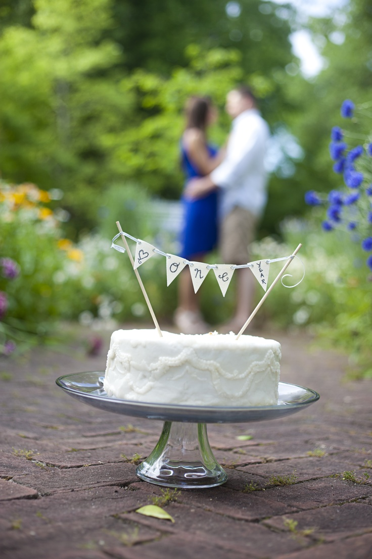 One Year Wedding Anniversary Photo with top of Cake
