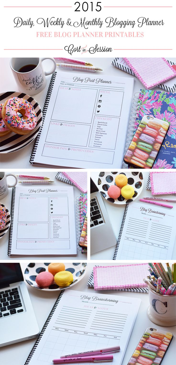 The Ultimate Free Blog Planner featuring a daily, weekly, and monthly blog planner printable! CortInSession.com