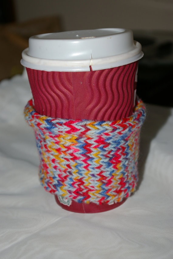 Multicoloured Coffee Cup Sleeve by GirltaristHan on Etsy, CUTE!!!
