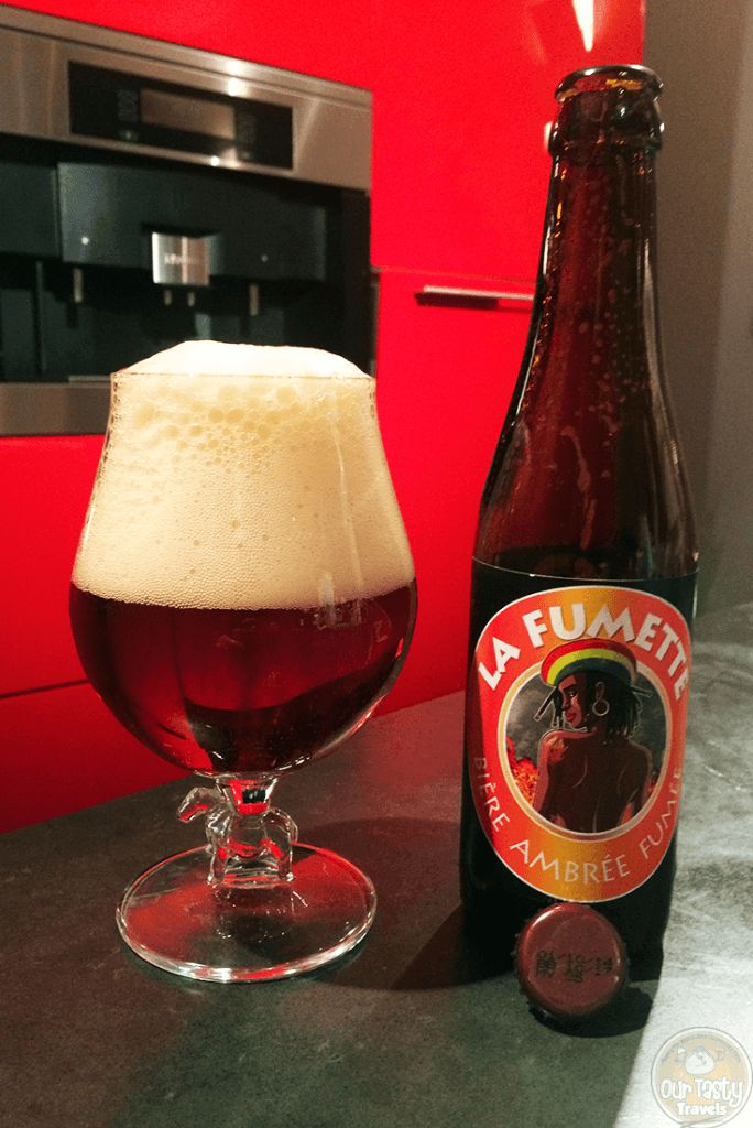 25-Jan-2016: La Fumette by Brasserie Artisanale Millevertus from Breuvanne in the Luxembourg region of Belgium. 7% ABV, 33 cl bottle. A smokey amber beer. Smokey aroma. And a smokey / bitter flavor. Quite a lot of carbonation, and a ton of head. #ottbeerdiary