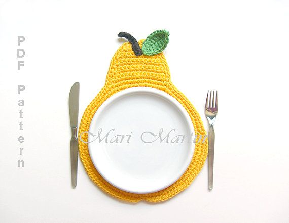 Pear Crochet Placemat Pattern - New Pattern Home Decor Tutorial Decorations MariMartin Download Immediately