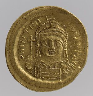 Solidus of Justinian I (r. #527 – #565), #538 –565  Byzantine; Minted in Constantinople  Gold  Coins  gold  metmuseum.org