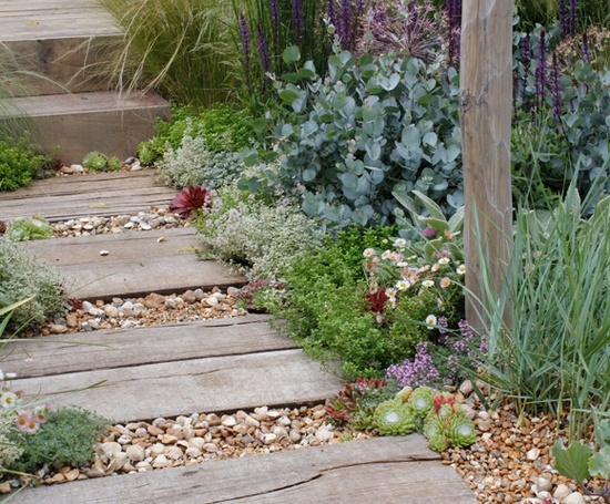Sleepers and shingle path Garden ideas Pinterest Paths