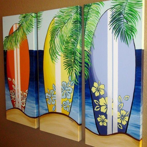 Surfboard Canvas Art  Hawaiian Beach Themed by MurrayDesignShop, $315.00