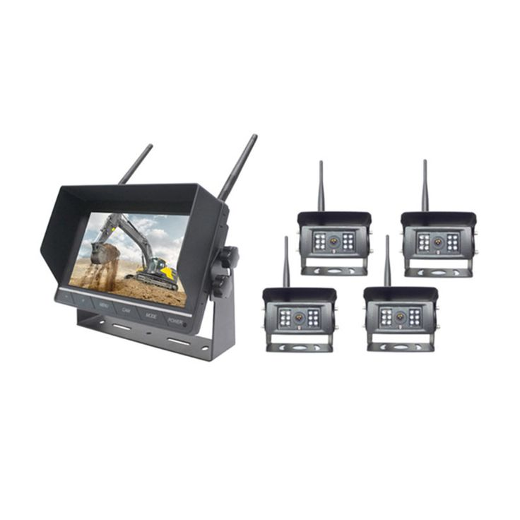 Wireless backup camera system for car, truck, van , digger and other construction vehicle, consist of a monitor, 4 cameras, battery and 2.4GHZ wireless system, transmitting distance 30-120 meters, maximum 128 GB SD card support, 480p MPEG4 video output, waterproof and 45 ft clear night vision distance, maximum 6w power consumption , suitable for continuously