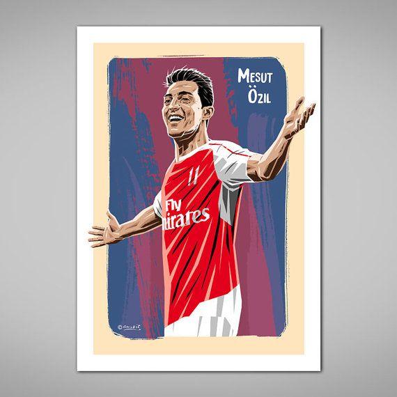 MEZUT OZIL Arsenal Football Art Print Arsenal FC Red