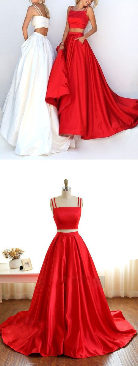 Two Pieces Prom Dress, Spaghetti Straps Prom Dresses, Prom Dress for Teens,Red High Neckline Prom Dress,