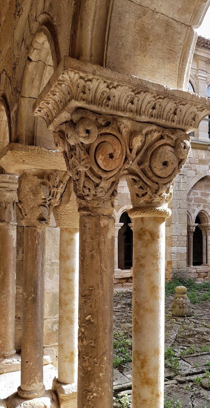 Columnas Y Capiteles Del Claustro Del Monasterio De Santa María La Real De Aguilar De Campoo Castile And Leon Palencia Romanesque