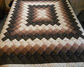 Brown King  sized hand-quilted Trip Around the World new patchwork quilt