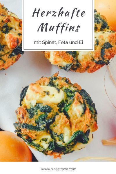 Einfaches Rezept für Herzhafte deftige Muffins mit Spinat Feta Ei