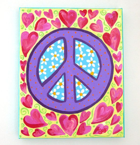 Childrens Art, PEACE and HEARTS, 8x10 Canvas Art for Girls Room via Etsy
