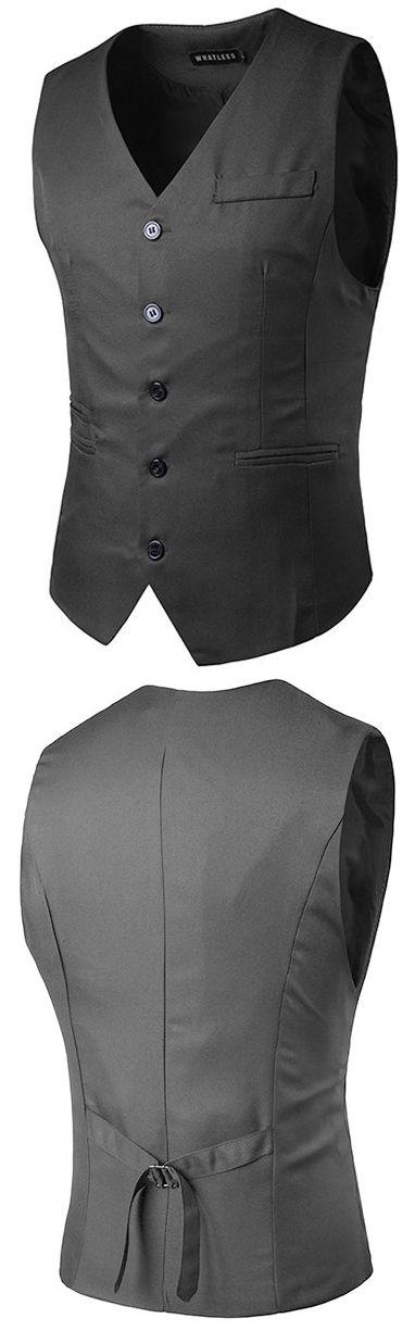 Casual Formal Business Slim Fit Multi Pockets Fashion Pure Color Suit Vest for Men