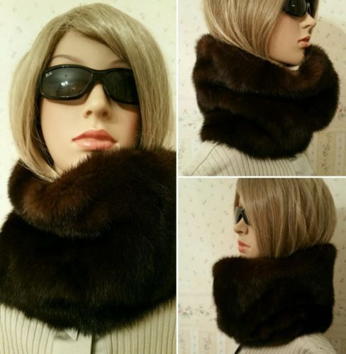 Vison-Mink-Loop-echarpe-echarpe-tube-white-scarf-Fur-Col-fourrure-manteau-de-vison-veste