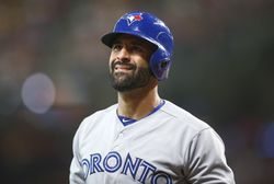 Aug 5, 2017; Houston, TX, USA; Toronto Blue Jays right fielder Jose Bautista (19) reacts after striking out during the fifth inning against the Houston Astros at Minute Maid Park. Mandatory Credit: Troy Taormina-USA TODAY Sports
