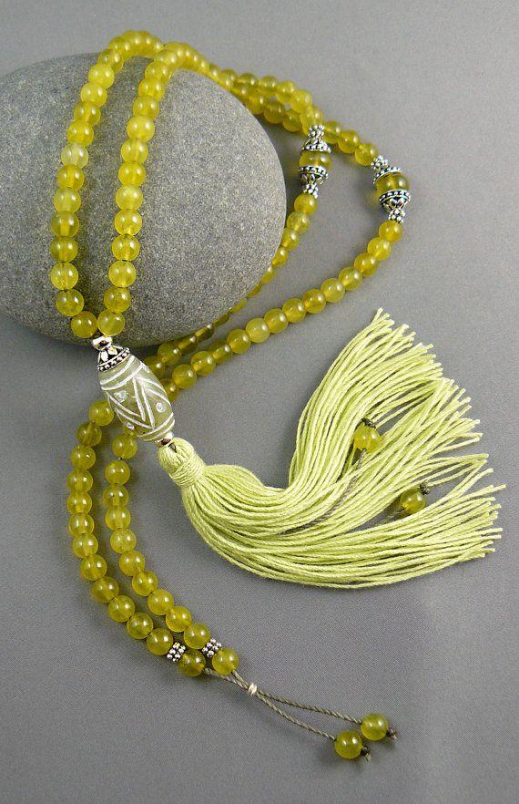 Mala Bead Necklace - Jade Mala Beads - Meditation - 108 Mala Beads