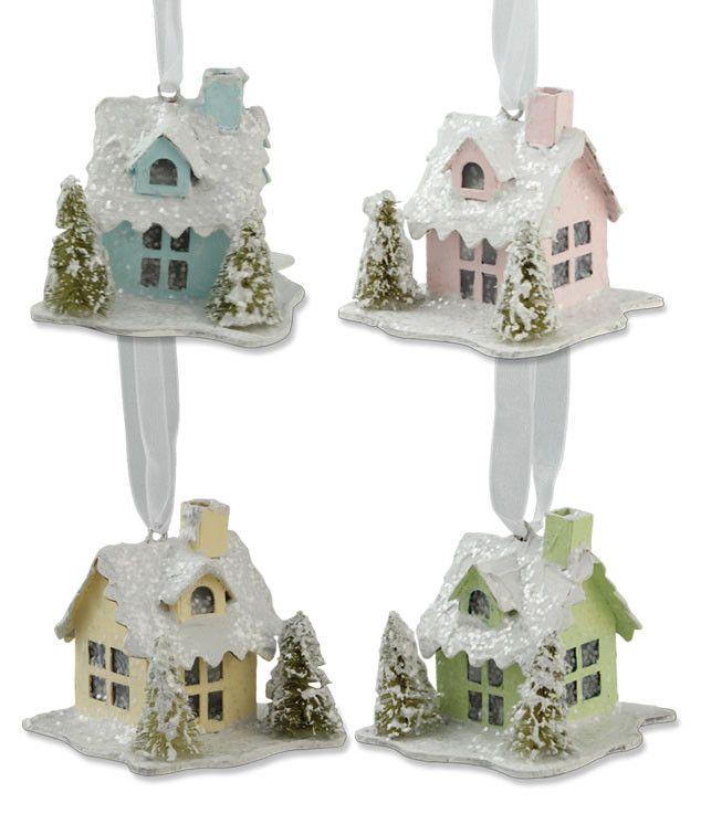 Mini Pastel Paper House Ornaments - Putz Christmas Houses