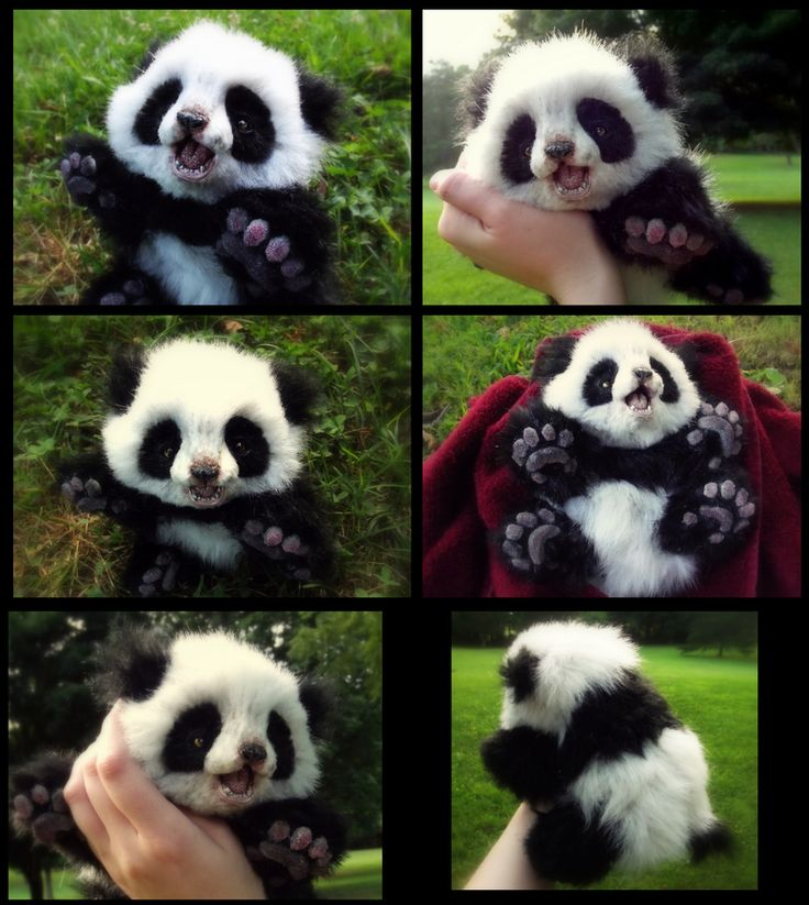 SOLD HAND MADE Poseable Baby Panda! by Wood-Splitter-Lee.deviantart.com on @deviantART