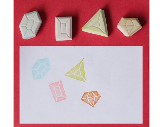 Diamond Handmade Rubber Stamp, set of 4 - Jewels hand carved stamp, Jewellery handmade stamp, Jewelry handcarved stamp on Etsy, $11.44 AUD