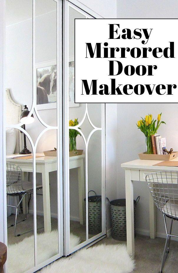 Mirrored Closet Door Makeover Mirror Closet Doors Door Makeover Diy Door Makeover