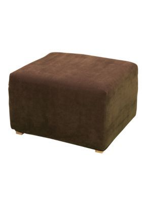 Sure Fit  Stretch Pique Oversized Ottoman Slipcover - Chocolate - Slipcover Ottoman