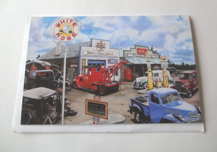 Vintage Canadian White Rose Gasoline Station by Artist Rudy Sparkuhl Card #WhiteRose