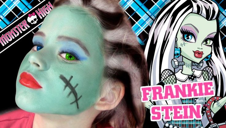 Frankie Stein Monster High Doll Costume Makeup.. its cute the little girl does it