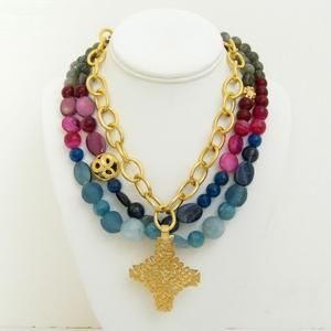 Susan Shaw Handcast Gold Ethnic Cross & 3 Row Semi-Precious Stone Necklace - Blue Hand Home  Lauren B Montana