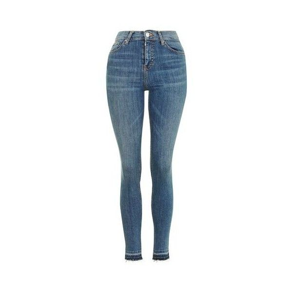 TopShop Moto Let Hem Blue Jamie Jeans (280 ILS) ❤ liked on Polyvore featuring jeans, mid stone, high rise skinny jeans, denim skinny jeans, skinny fit jeans, high-waisted jeans and highwaist jeans