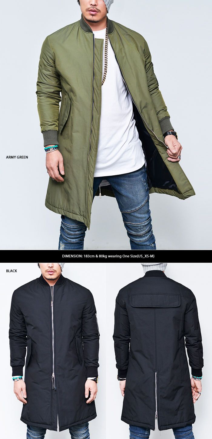 Outerwear :: Cargo Pocket Long Flight Bomber-Jacket 114 - Mens Fashion Clothing For An Attractive Guy Look