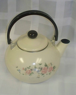 PFALTZGRAFF TEA ROSE METAL TEA KETTLE WITH A BROWN HARD PLASTIC HANDLE Listed on eBay One & 34 best Pfaltzgraff Tea Rose Collection images on Pinterest ...
