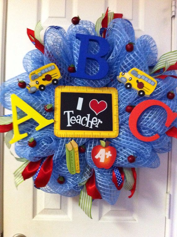 Deco Mesh Teacher Wreath by DebbiesDoorDelights on Etsy, $50.00