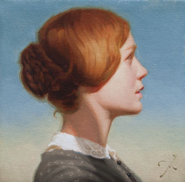 """""""Miss Eyre"""" by Athanasios Deshields (oil painting, alla prima, fine art, traditional, portrait, illustration, jane eyre, bronte)"""