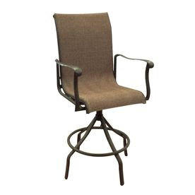 Perfect compliment to the bar table :) Allen+Roth Set of 4 Safford Swivel Sling Seat Aluminum Patio Bar-Height Chair