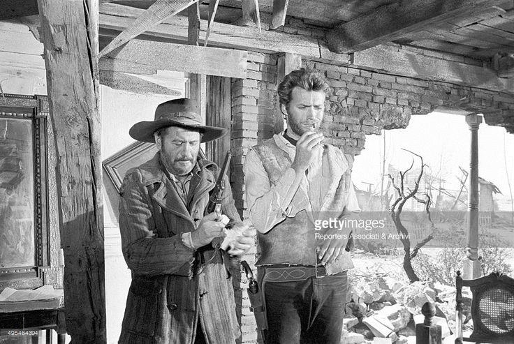 American actors Clint Eastwood and Eli Wallach acting in the film The Good, the Bad and the Ugly. 1966