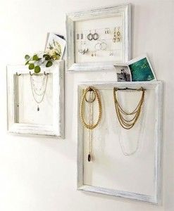 Re-purpose old frames into beautiful wall decor that solves an organizational problem. Just attach small hooks for necklaces and bracelets or thin wire for earrings. useful & a creative decoration -  Love it!