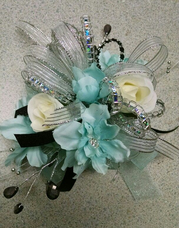 Lt teal and silver prom corsage