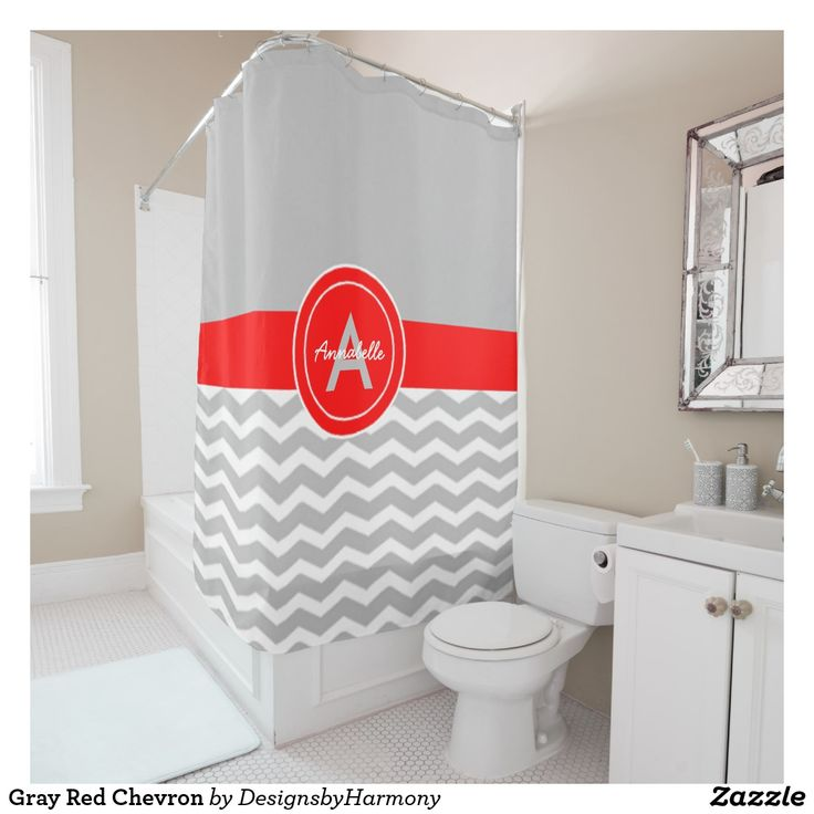 Gray Red Chevron Shower Curtain