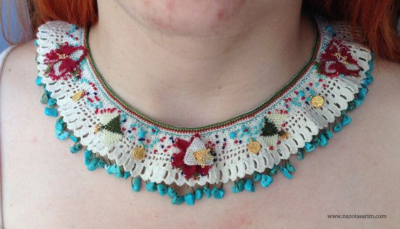 Necklace  Needle Lace Necklace  Coral Stone Necklace by NazoDesign, $70.00
