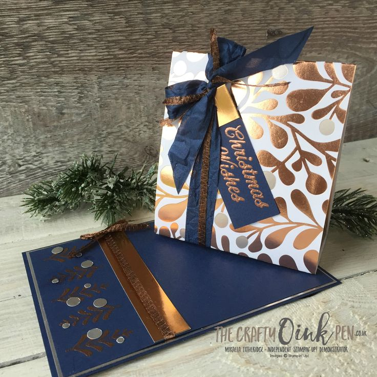 Mikaela Titheridge, The Crafty oINK Pen, Creation Station Blog Hop Metallics Gone Wild using Merry Mistletoe Copper foil and Year of Cheer Specialty Designer Paper. Supplies available through my online store 24/7