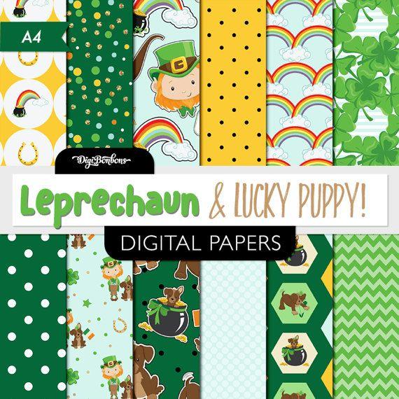 Leprechaun printable digital paper- USL 8.5 x 11 size - Leprechaun clipart that matches also available - Digital Paper Set by DigiBonBons now at http://ift.tt/2DFZIqf