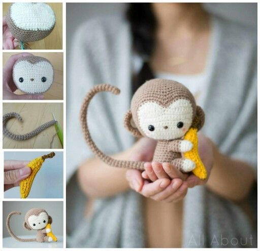 HOW TO MAKE A CROCHET MONKEY...this is absolutely adorable & looks pretty…