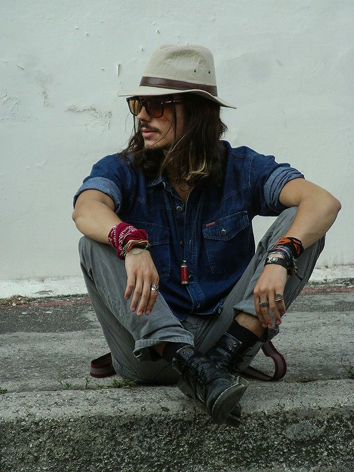 Bohemian Rebel Style - clothes, hat, face, hair, moustache and beard.