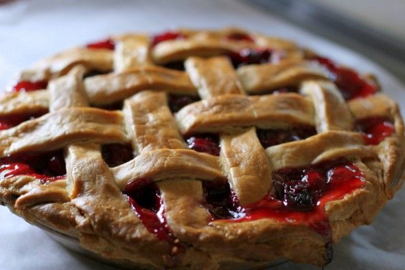 Classic Sour Cherry Pie. Made this for the 4th, it was amazing. Sour cherry season's done, but you can make it with frozen sour (or tart, or pie) cherries.