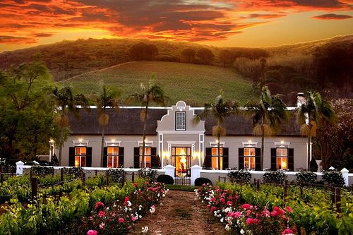 soo pretty-the house, the sunset, the landscape, the glow from inside