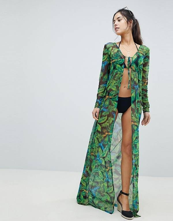 ca85b9ba8a PrettyLittleThing Tropical Maxi Beach Cover Up | S h o p | Beach ...