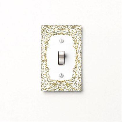 #Gold & White Glitter Unisex Princess Filigree Light Switch Cover - cyo customize do it yourself diy