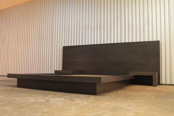 Platform bed with nightstands King Walnut veneer by Zarwoods