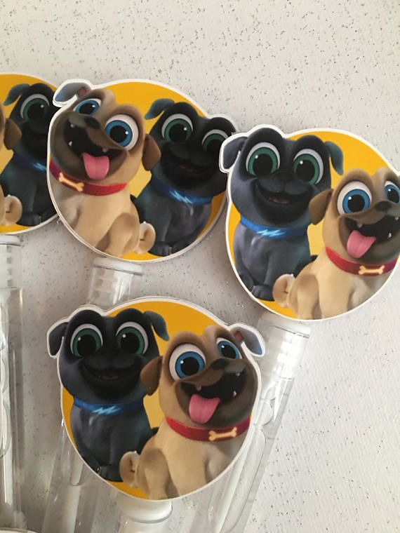 This listing is for 12 Puppy Dog Pals bubble wands. The bubble wands measure 5.25 tall including the Puppy Dog Pals image. Puppy Dog Pal Birthday Party Favor a perfect addition to your event! These Bubble Wands coordinate perfectly with my Puppy Dog Pals Cupcake toppers, and