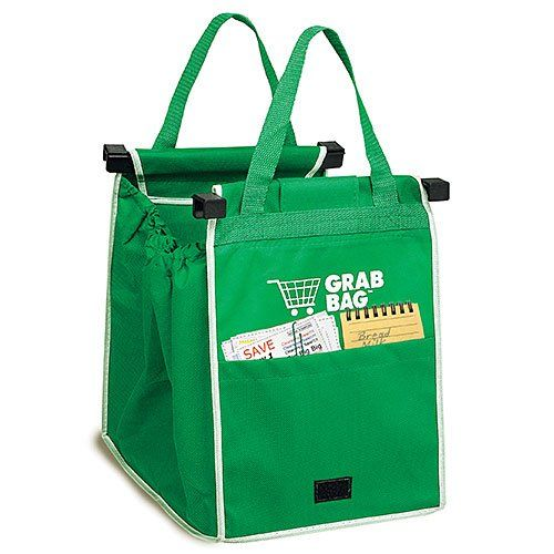BUY NOW Loading and carrying your groceries has never been easier, thanks to this reusable shopping grab bag. PRODUCT FEATURES Clips easily to any shopping cart for convenience. Generous front pocket offers plenty of room for additional storage. Folds flat for easy, compact storage. Durable handles withstand prolonged use. PRODUCT CARE Wipe clean WHAT S INCLUDED 2 Grab Bags PRODUCT DETAILS 11.25 H x 7.5 W x 2.62 D BUY NOW $18.16 BUY NOW